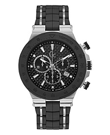 Gc Men's Structura Sport Black and Silver Silicone Strap Watch 45mm
