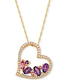 "Multi-Gemstone Floating Heart 18"" Pendant Necklace (1 ct. t.w.) in 14k Gold"