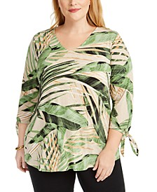 Plus Size Tropical-Print Tie-Sleeve Top, Created for Macy's