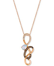 "Neopolitan Opal (1/3 ct. t.w.) & Diamond (1/3 ct. t.w.) Swirl 18"" Pendant Necklace in 14k Rose Gold"