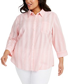 Plus Size Floral-Embroidered Cotton Shirt, Created for Macy's