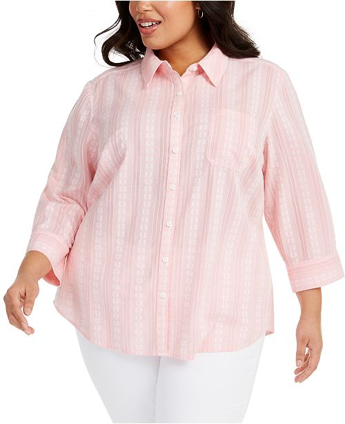 Karen Scott Plus Size Floral-Embroidered Cotton Shirt, Created for Macy's