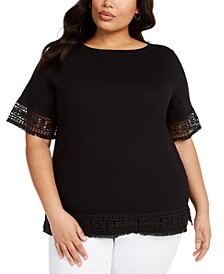 Plus Size Crochet-Trim Cotton Top, Created For Macy's
