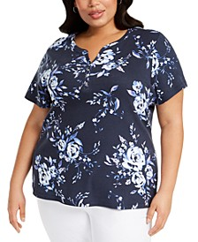Plus Size Floral Print Top, Created For Macy's