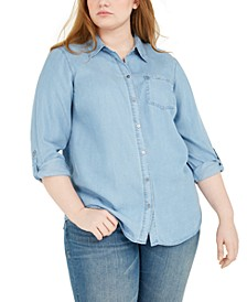 Plus Size Chambray Button-Up Shirt, Created for Macy's