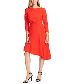 3/4-Sleeve Asymmetric A-Line Dress