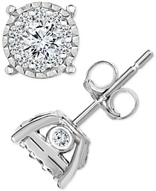 TruMiracle® Diamond Halo Cluster Stud Earrings (1/2 ct. t.w.) in 14k White Gold