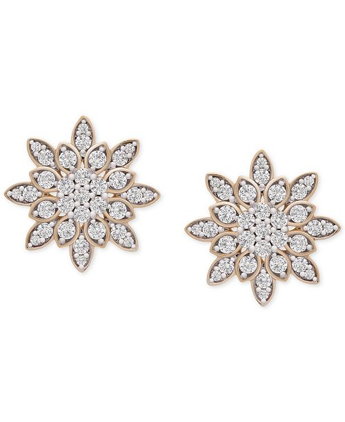 Wrapped in Love Diamond Snowflake Stud Earrings (1/2 ct. t.w.) in 14k Gold, Created For Macy's