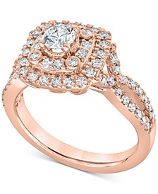 Diamond Double Halo Engagement Ring (1 ct. t.w.) in 14k Rose Gold