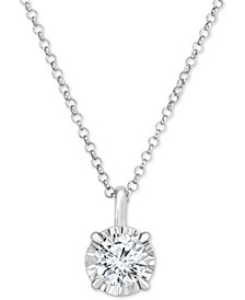 "Diamond Solitaire 18"" Pendant Necklace (1/2 ct. t.w.) in 14k White Gold"