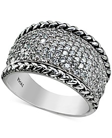Cubic Zirconia Pavé Statement Ring in Sterling Silver