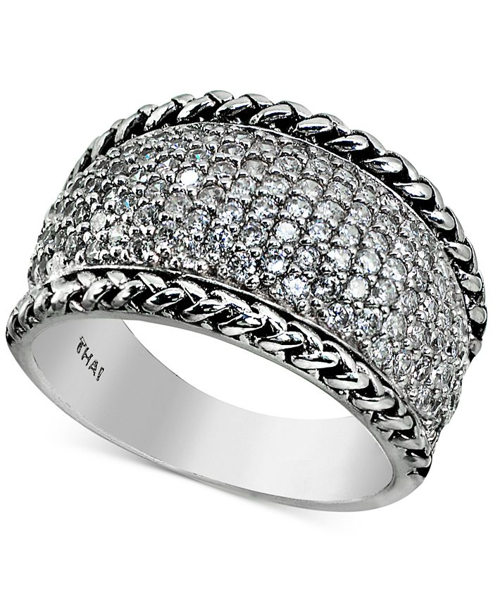 Macy's - Cubic Zirconia Pavé Statement Ring in Sterling Silver