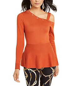 One-Shoulder Peplum Sweater, Created for Macy's