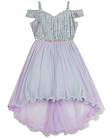 Toddler Girls Metallic Cold-Shoulder Dress