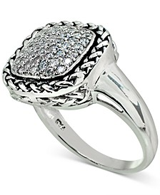 Cubic Zirconia Rope-Framed Statement Ring in Sterling Silver