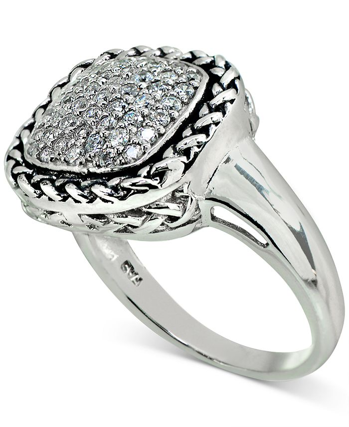 Macy's - Cubic Zirconia Rope-Framed Statement Ring in Sterling Silver
