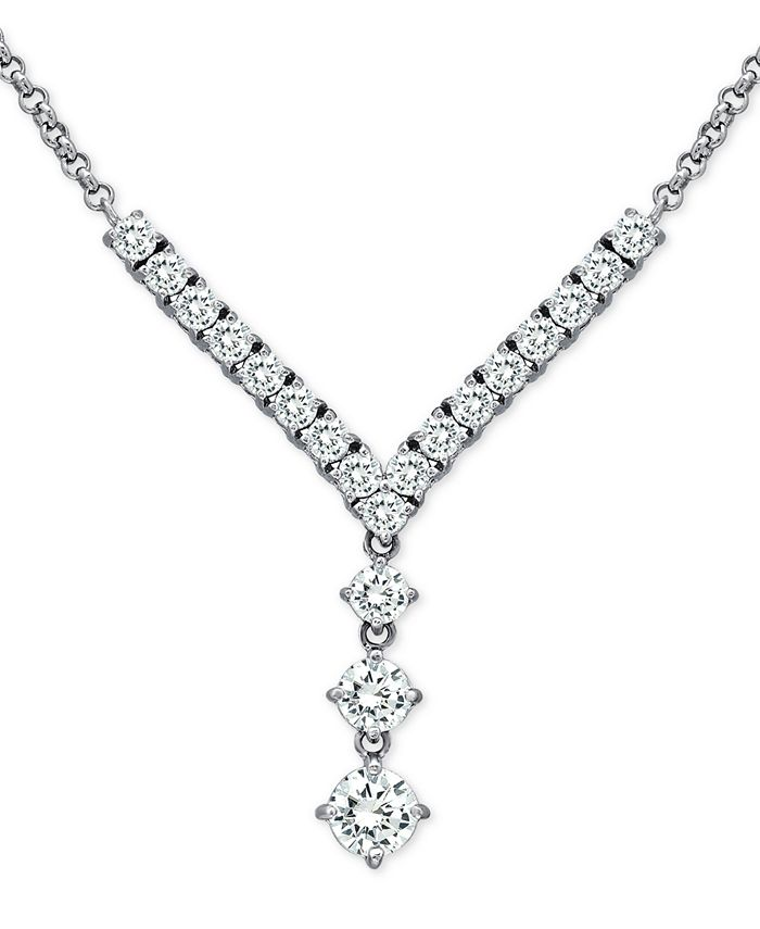 "Macy's - Cubic Zirconia 18"" Y-Necklace in Sterling Silver"