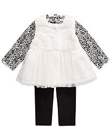 Baby Girls 3-Pc. Faux-Fur Vest, Tulle-Hem Tunic & Leggings Set, Created For Macy's