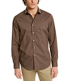 Men's Stretch Geo-Print Shirt, Created for Macy's
