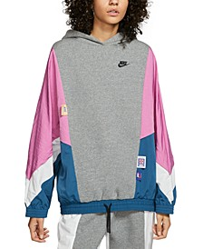 Women's Icon Clash Colorblocked Mixed-Media Hoodie