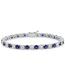 Cubic Zirconia Blue Tennis Bracelet in Sterling Silver