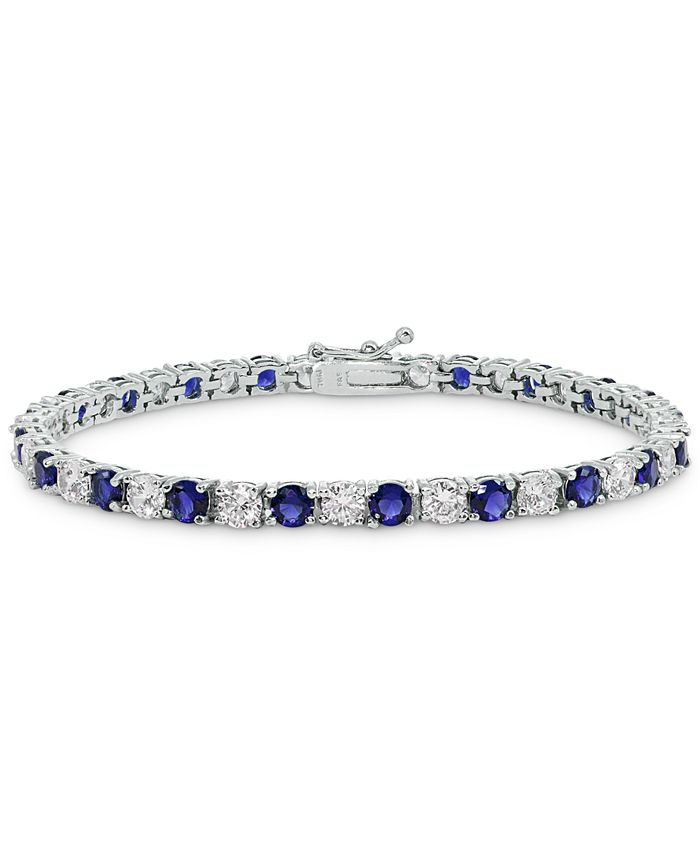 Macy's - Cubic Zirconia Blue Tennis Bracelet in Sterling Silver