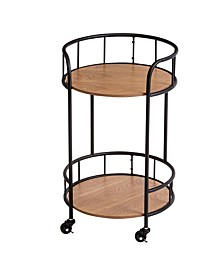 2-Tier Round Side Table With Wheels