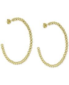 """Large Beaded C-Hoop Fine Silver Plate Earrings 2-1/3"""""""