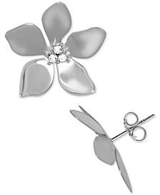 Crystal Flower Stud Fine Silver Plate Earrings