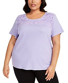 Plus Size Crochet-Trim Top, Created for Macy's
