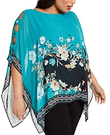 Plus Size Printed Poncho Top, Created For Macy's