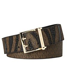 Zebra-Stripe Logo-Print Belt