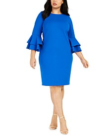 Plus Size Tiered Bell-Sleeve Dress