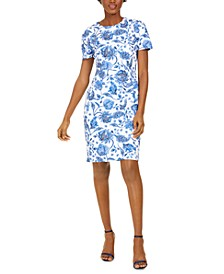 Floral Short-Sleeve Sheath Dress