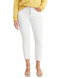 Classic Button-Front Skinny Ankle Jeans