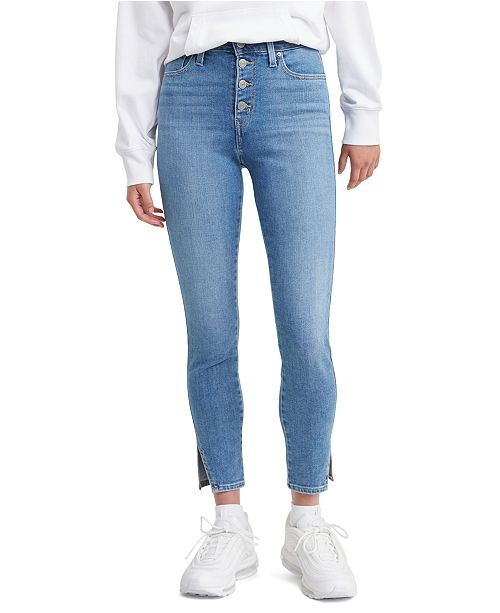 Levi's 721 High-Rise Exposed-Button Skinny Ankle Jeans