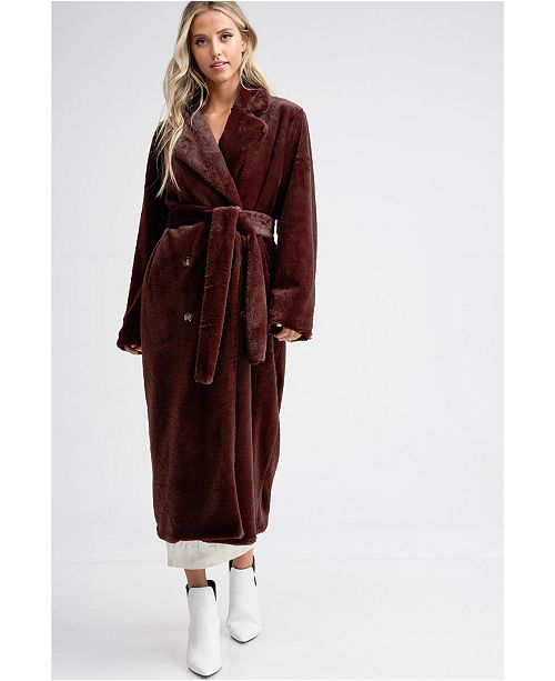 Emory Park Double Breasted Front Tie Faux Fur Coat
