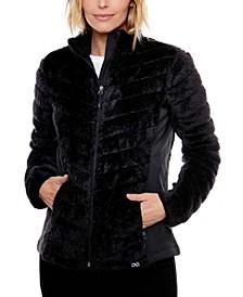 Chevron Quilt Plush Jacket
