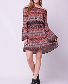 Off Shoulder Bell Sleeves Freedom Print Mini Dress