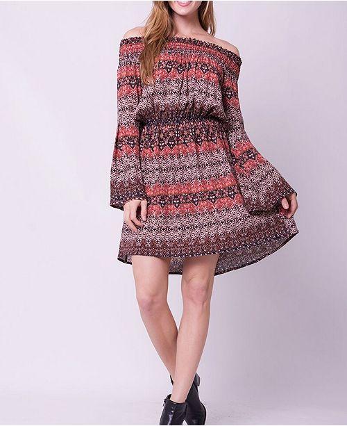 OCIIMI Off Shoulder Bell Sleeves Freedom Print Mini Dress