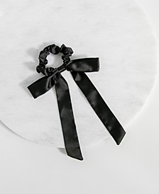 Black Satin Bow Scrunchie