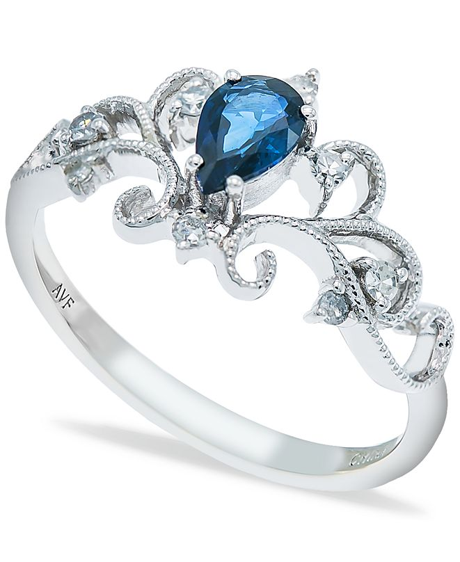 Macy's Sapphire (1/2 ct. t.w.) and Diamonds (1/8  ct. t.w.) Ring Set in 14k White Gold