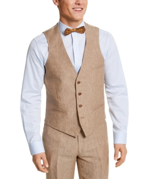 1920s Style Mens Vests Bar Iii Mens Slim-Fit Tan Pinstripe Linen Suit Separate Vest Created For Macys $29.99 AT vintagedancer.com