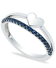Sapphire (1/5 ct. t.w.) Heart Ring in Sterling Silver