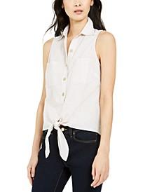 Tie-Front Sleeveless Shirt