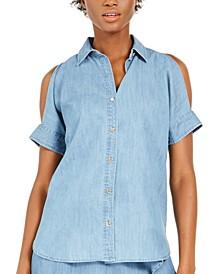 Chambray Cold-Shoulder Shirt