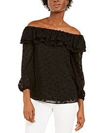 Off-The-Shoulder Burnout Top, Regular & Petite