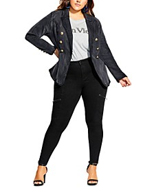 Trendy Plus Size Shaped Denim Jacket