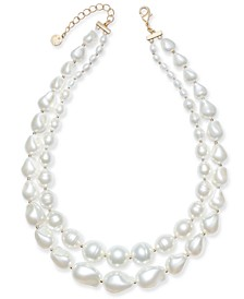 """Gold-Tone Imitation Pearl Double-Row Collar Necklace, 17"""" + 2"""" extender, Created for Macy's"""