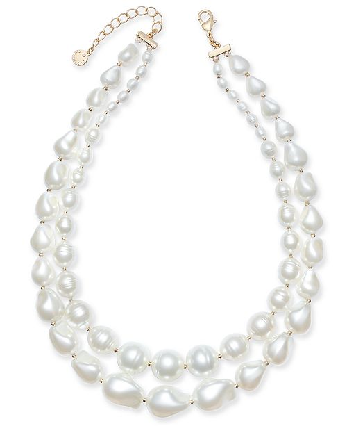 """Charter Club Gold-Tone Imitation Pearl Double-Row Collar Necklace, 17"""" + 2"""" extender, Created for Macy's"""